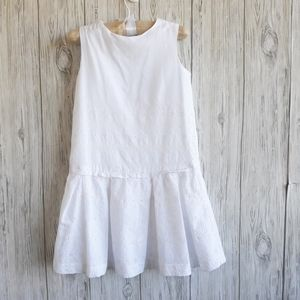 Gap White Eyelet Drop Waist Dress Size 5